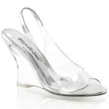 Stříbro 10,5 cm LOVELY-450 Klínové Sandály Podpatky