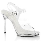 Stříbro 11,5 cm CHIC-08 sandály s jehlovým podpatkem