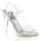 Stříbro 11,5 cm CLEARLY-408 Večerní sandály s podpatkem
