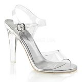 Stříbro 11,5 cm CLEARLY-408 dámské sandály na podpatku