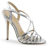 Stříbro 13 cm Pleaser AMUSE-13 dámské sandály na podpatku