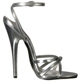 Stříbro 15 cm Devious DOMINA-108 dámské sandály na podpatku