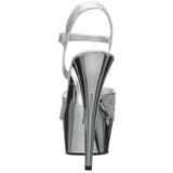 Stříbro 15 cm Pleaser DELIGHT-609G Chrom Platformě Vysoké Podpatky