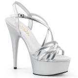 Stříbro 15 cm Pleaser DELIGHT-613 Sandály na vysokém podpatku