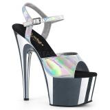 Stříbro 18 cm ADORE-709HGCH Hologram boty na platformě a podpatku