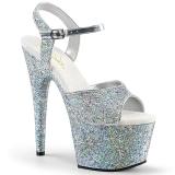 Stříbro 18 cm ADORE-710LG třpyt boty na platformě a podpatku