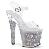 Stříbro 18 cm RADIANT-708HHG Hologram boty na platformě a podpatku