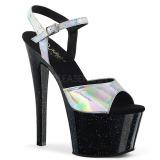 Stříbro 18 cm SKY-309HG Hologram boty na platformě a podpatku