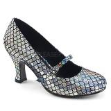 Stříbro 7,5 cm MERMAID-70 lodičky boty s nízkým podpatkem