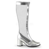 Stříbro 8,5 cm GOGO-307 pletivo kozačky dámské na podpatku