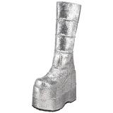 Stříbro Glitter 18 cm STACK-301G demonia kozačky - unisex cyberpunk boty