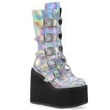 Stříbro Hologram 14 cm SWING-230 kozačky cyberpunk na platformy