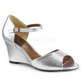 Stříbro Koženka 7,5 cm KIMBERLY-05 velké velikosti sandály dámské