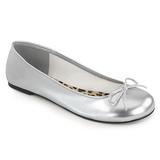 Stříbro Koženka ANNA-01 velké velikosti baleríny boty