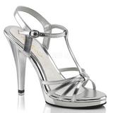 Stříbro Lakované 12 cm FLAIR-420 Dámské Sandály Podpatky