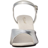 Stříbro Matná 8 cm BELLE-309 Dámské Sandály Podpatky