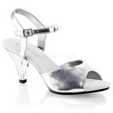 Stříbro Matná 8 cm BELLE-309 sandály vysoký podpatek