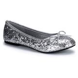 Stříbro STAR-16G třpyt dámské baleríny obuv