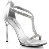 Stříbro Satén 11,5 cm CHIC-21 Dámské Sandály Podpatky