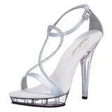 Stříbro Satén 13 cm LIP-156 sandály vysoký podpatek