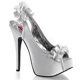 Stříbro Satén 14,5 cm Burlesque TEEZE-56 Platformě Sandály Podpatky