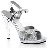 Stříbro Třpyt 12 cm FLAIR-419G sandály vysoký podpatek