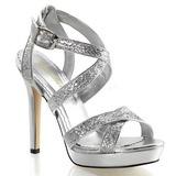 Stříbro Třpyt 12 cm LUMINA-21 Večerní Sandály s podpatkem