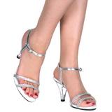 Stříbro Třpyt 8 cm BELLE-316 sandály vysoký podpatek