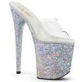 Stříbro glitter 20 cm FLAMINGO-801LG pantofle na podpatku a platformě