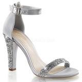 Stříbro kamínky 11,5 cm CLEARLY-436 Večerní Sandály s podpatkem
