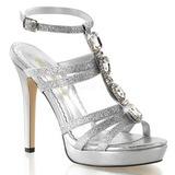 Stříbro kamínky 12 cm LUMINA-22 Večerní Sandály s podpatkem