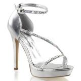 Stříbro kamínky 12 cm LUMINA-26 Večerní Sandály s podpatkem