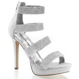 Stříbro kamínky 12 cm LUMINA-30 Večerní Sandály s podpatkem