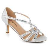 Stříbro třpyt 6,5 cm Fabulicious MISSY-03 dámské sandály na podpatku