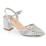 Stříbro třpyt 7 cm Fabulicious FAYE-06 dámské sandály na podpatku