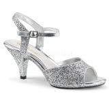 Stříbro třpyt 8 cm Fabulicious BELLE-309G dámské sandály na podpatku