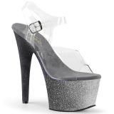 Stříbro třpytky 18 cm Pleaser ADORE-708OMBRE Boty na podpatku pro tanec na tyči