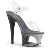 Stříbro třpytky 18 cm Pleaser MOON-708OMBRE Boty na podpatku pro tanec na tyči