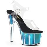 Tyrkysové 18 cm ADORE-708HGI Hologram boty na platformě a podpatku