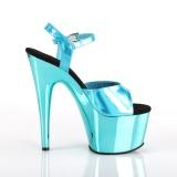 Tyrkysové 18 cm ADORE-709HGCH Hologram boty na platformě a podpatku