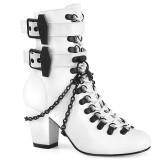 Vegan 7,5 cm VIVIKA-128-2 Viktoriánské kotníkové boty na tlustém podpatku
