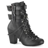 Vegan 7,5 cm VIVIKA-128 Viktoriánské kotníkové boty na tlustém podpatku