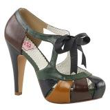 Vícebarevný 11,5 cm retro vintage BETTIE-19 dámské boty na vysokém podpatku