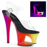 Vícebarevný 18 cm MOON-708UV Sandály Neon Platformě