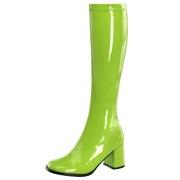Zelené lakované kozačky blokový podpatek 7,5 cm - 70 léta hippie disco gogo - kozačky pod kolena