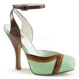 Zelený 11,5 cm retro vintage CUTIEPIE-01 Pinup sandály na platformě a skrytém