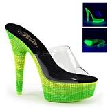 Zelený 15 cm DELIGHT-601UVS neon platformy pantoflicky dámské