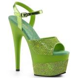 Zelený 18 cm ADORE-709-2G třpyt sandaly na platformě a podpatku