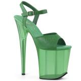 Zelený 18 cm FLAMINGO-809T Akryl boty na platformě a podpatku