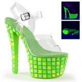 Zelený 18 cm SKY-308UVTL Neon Platformě Sandály Podpatky